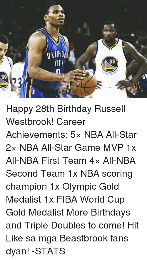 NBA All-Star Game: 30  RR  PITY  35  YRIOR Happy 28th Birthday Russell Westbrook!  Career Achievements: 5× NBA All-Star 2× NBA All-Star Game MVP 1x All-NBA First Team 4× All-NBA Second Team 1x NBA scoring champion 1x Olympic Gold Medalist 1x FIBA World Cup Gold Medalist  More Birthdays and Triple Doubles to come!  Hit Like sa mga Beastbrook fans dyan!  -STATS