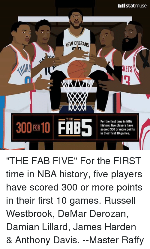 """DeMar DeRozan: 300 FOR 10  NEW ORLEANS  XXXO  THE  Inilstatmuse  KETS  For the first time in NBA  history, five players have  scored 300 or more points  in their first 10 games. """"THE FAB FIVE""""  For the FIRST time in NBA history, five players have scored 300 or more points in their first 10 games.  Russell Westbrook, DeMar Derozan, Damian Lillard, James Harden & Anthony Davis.   --Master Raffy"""