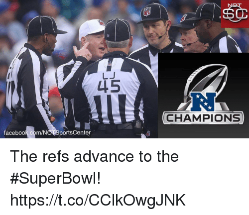 Facebook, Sports, and SportsCenter: 31  LJ  L15  RJ  CHAMPIONS  facebook.com/NO SportsCenter The refs advance to the #SuperBowl! https://t.co/CClkOwgJNK