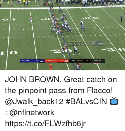 Memes, Bengals, and John Brown: 32  10  ND &1  1-0 17 BENGALS 1-0 28 4th 9:42 122nd & 14  2 JOHN BROWN.  Great catch on the pinpoint pass from Flacco!   @Jwalk_back12 #BALvsCIN  📺: @nflnetwork https://t.co/FLWzfhb6jr