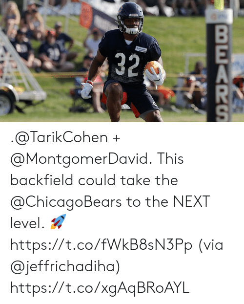 chicagobears: 32  BEARS .@TarikCohen + @MontgomerDavid.  This backfield could take the @ChicagoBears to the NEXT level. 🚀 https://t.co/fWkB8sN3Pp (via @jeffrichadiha) https://t.co/xgAqBRoAYL