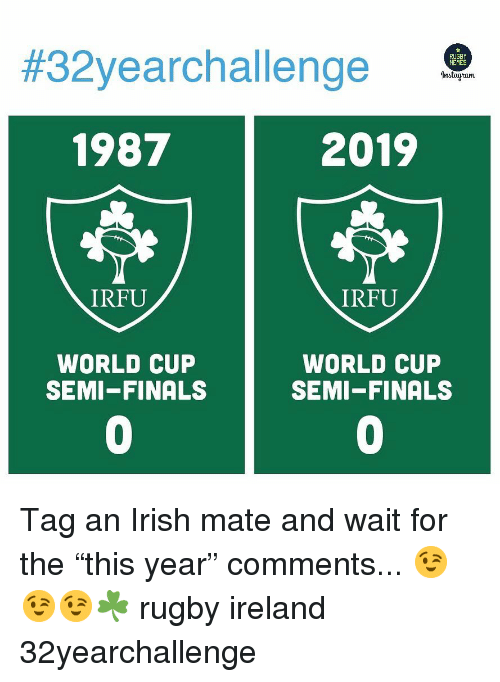 """Finals, Irish, and World Cup:  #32yearchal lenge  1987  2019  IRFU  IRFU  WORLD CUP  SEMI-FINALS  WORLD CUP  SEMI-FINALS  0  0 Tag an Irish mate and wait for the """"this year"""" comments... 😉😉😉☘️ rugby ireland 32yearchallenge"""