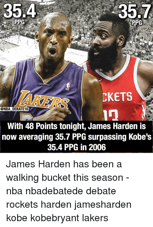 rockets: 35.4  35.7  PPG  AKERS  CKETS  @NBA DEBATE16  With 48 Points tonight, James Harden is  now averaging 35.7 PPG surpassing Kobe's  35.4 PPG in 2006 James Harden has been a walking bucket this season - nba nbadebatede debate rockets harden jamesharden kobe kobebryant lakers