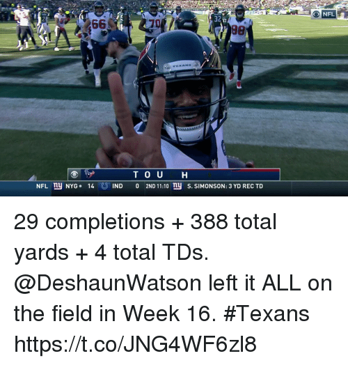 rec: 366  32  17  T O U H  NFL nu NYG. 14IND 0 2ND 11:10 nu S. SIMONSON: 3 YD REC TD 29 completions + 388 total yards + 4 total TDs.   @DeshaunWatson left it ALL on the field in Week 16. #Texans https://t.co/JNG4WF6zl8