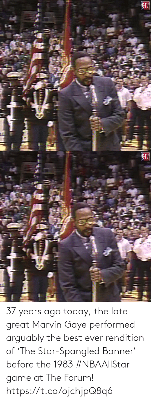 years: 37 years ago today, the late great Marvin Gaye performed arguably the best ever rendition of 'The Star-Spangled Banner' before the 1983 #NBAAllStar game at The Forum!    https://t.co/ojchjpQ8q6