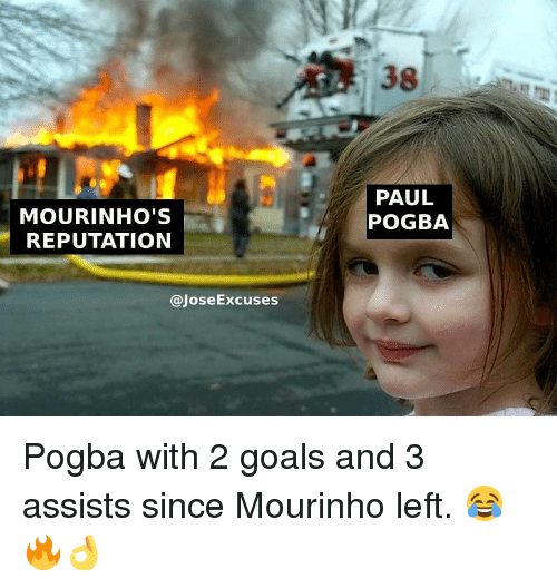 paul pogba: 38  MOURINHO'S  REPUTATION  PAUL  POGBA  @JoseExcuses Pogba with 2 goals and 3 assists since Mourinho left. 😂🔥👌