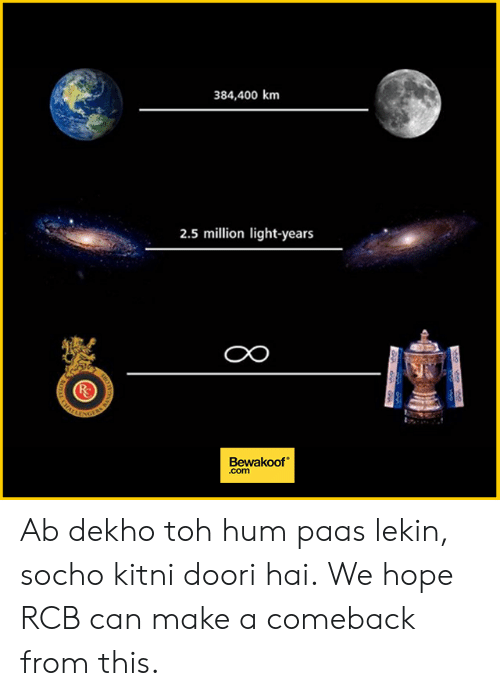 hum: 384,400 km  2.5 million light-years  CO  Bewakoof  .com Ab dekho toh hum paas lekin, socho kitni doori hai. We hope RCB can make a comeback from this.