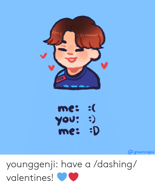 Tumblr, Blog, and Http: 388  me: :  You: )  me: D younggenji:  have a /dashing/ valentines!💙❤️
