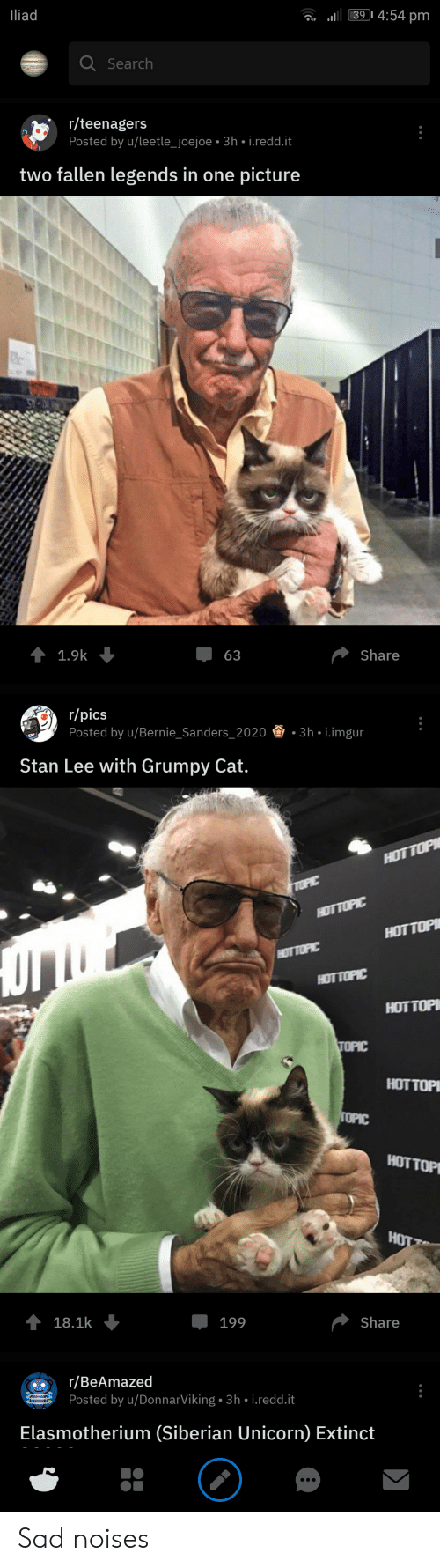 Bernie Sanders, Stan, and Stan Lee: 393 4:54 pm  liad  Q Search  r/teenagers  Posted by u/leetle_joejoe.3h-i.redd.it  two fallen legends in one picture  џ 63  1.9k  Share  r/pics  Posted by u/Bernie-Sanders-2020  -3h-İ.imgur  Stan Lee with Grumpy Cat  HOT TOPIC  HOT TOP  HOTTOP  HOT TOP  18.1k  199  Share  r/BeAmazed  Posted by u/DonnarViking. 3h i.redd.t  Elasmotherium (Siberian Unicorn) Extinct Sad noises