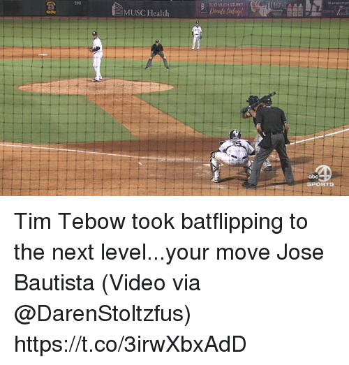 Your Moves: 39B  TOO MUCH STUFF?  MUSC Health  abc  RTS Tim Tebow took batflipping to the next level...your move Jose Bautista  (Video via @DarenStoltzfus) https://t.co/3irwXbxAdD