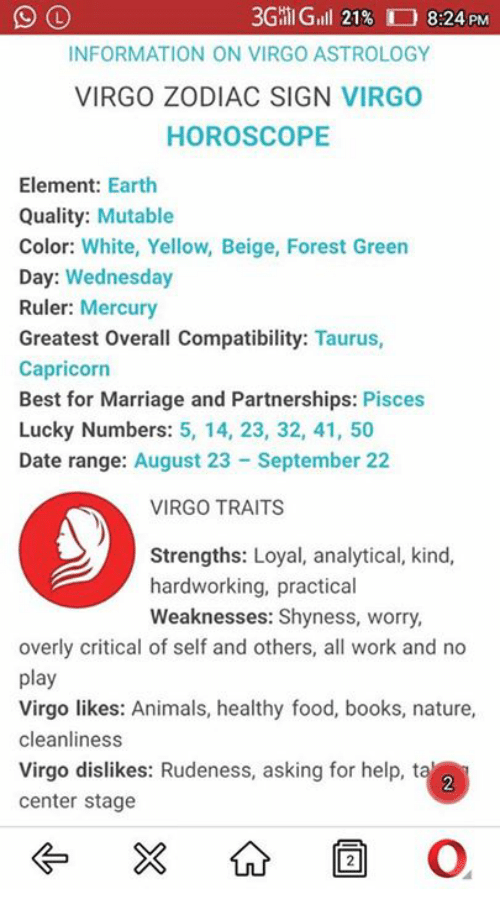 3GHI Gill 21% 824 PM INFORMATION ON VIRGO ASTROLOGY VIRGO ZODIAC