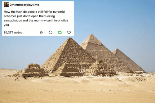 Fall, Fucking, and Fuck: 3minutesofplaytime  How the fuck do people still fall for pyramid  schemes just don't open the fucking  sarcophagus and the mummy can't hypnotize  you  81,377 notes