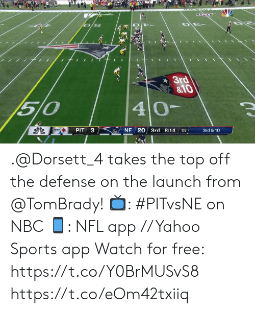 tombrady: 3rd  &10  510  40-  Steelers  PIT  NE 20 3rd 8:14  :08  3rd & 10 .@Dorsett_4 takes the top off the defense on the launch from @TomBrady!   📺: #PITvsNE on NBC 📱: NFL app // Yahoo Sports app Watch for free: https://t.co/Y0BrMUSvS8 https://t.co/eOm42txiiq