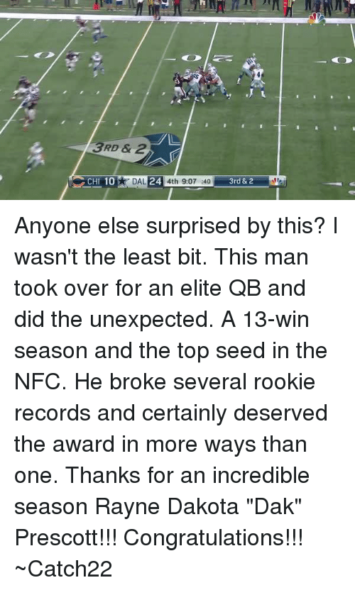 """Rooky: 3RD & 2  24  CHI 10  DAL  4th 9:07 :40  3rd &2 Anyone else surprised by this?  I wasn't the least bit.  This man took over for an elite QB and did the unexpected.  A 13-win season and the top seed in the NFC.  He broke several rookie records and certainly deserved the award in more ways than one.  Thanks for an incredible season Rayne Dakota """"Dak"""" Prescott!!!  Congratulations!!!  ~Catch22"""
