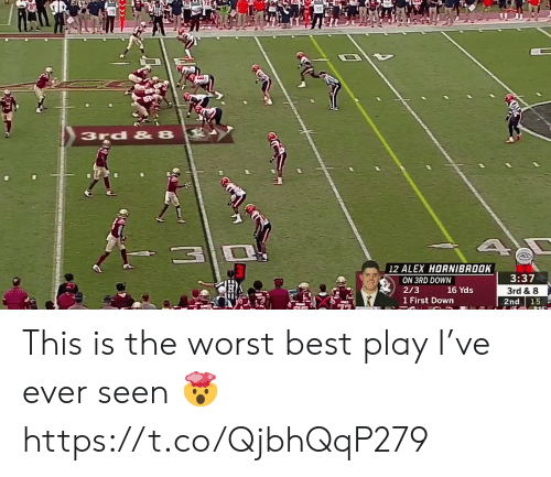 This Is The Worst: 3rd & 8  12 ALEX HORNIBROOK  3:37  ON 3RD DOWN  16 Yds  1 First Down  2/3  3rd & 8  2nd  15 This is the worst best play I've ever seen 🤯 https://t.co/QjbhQqP279