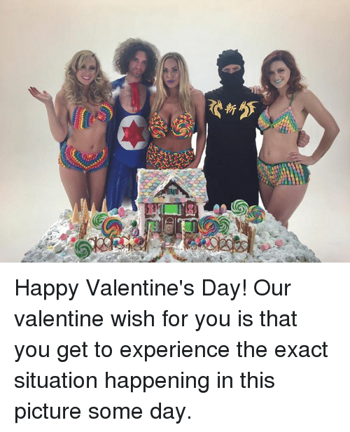 happy valentine day: 4だ Happy Valentine's Day! Our valentine wish for you is that you get to experience the exact situation happening in this picture some day.
