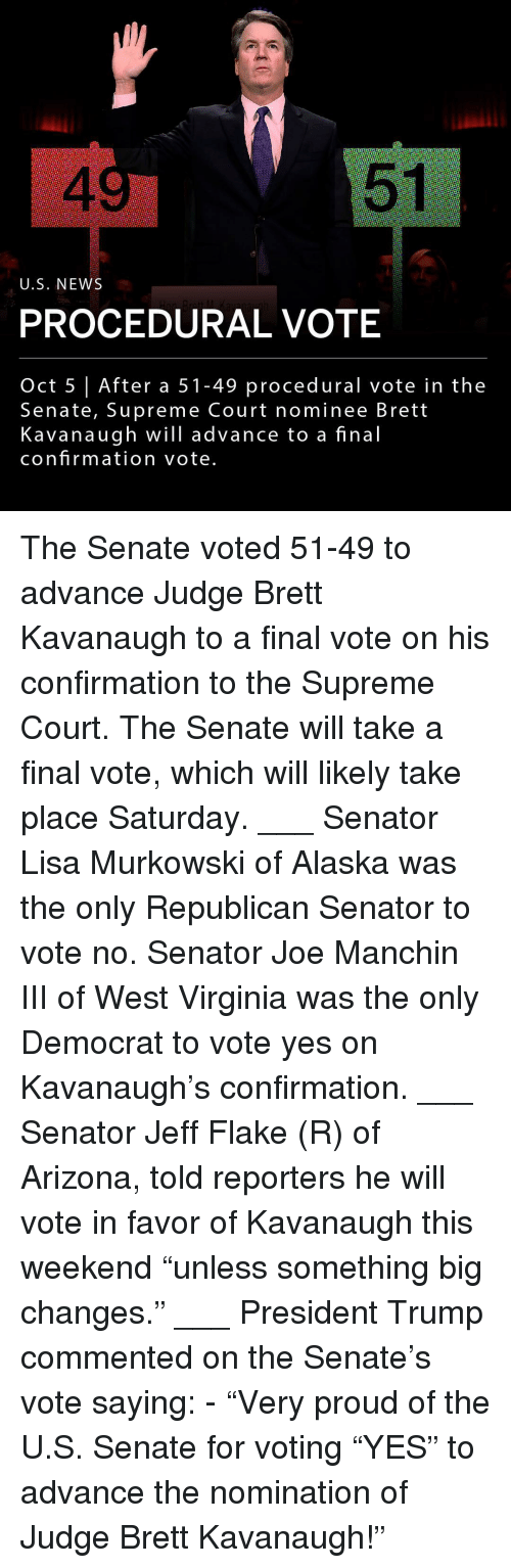 """supreme-court-nominee: 4  51  U.S. NEWS  PROCEDURAL VOTE  Oct 5 After a 51-49 procedural vote in the  Senate, Supreme Court nominee Brett  Kavanaugh will advance to a final  confirmation vote The Senate voted 51-49 to advance Judge Brett Kavanaugh to a final vote on his confirmation to the Supreme Court. The Senate will take a final vote, which will likely take place Saturday. ___ Senator Lisa Murkowski of Alaska was the only Republican Senator to vote no. Senator Joe Manchin III of West Virginia was the only Democrat to vote yes on Kavanaugh's confirmation. ___ Senator Jeff Flake (R) of Arizona, told reporters he will vote in favor of Kavanaugh this weekend """"unless something big changes."""" ___ President Trump commented on the Senate's vote saying: - """"Very proud of the U.S. Senate for voting """"YES"""" to advance the nomination of Judge Brett Kavanaugh!"""""""