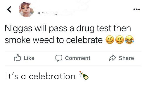 Weed, Test, and Drug Test: 4 n  Niggas will pass a drug test then  smoke weed to celebrate  Like  Share  Comment It's a celebration 🍾