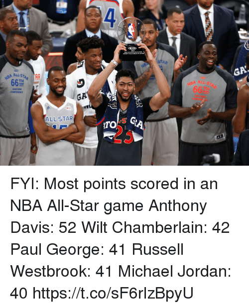 NBA All-Star Game: 4  NBA  2017  STAR  BA ALL STAR  TH  GA  EASTERN  NBA ALL  66껄  GA  KIA  ALL STAR  ITO  23 FYI: Most points scored in an NBA All-Star game   Anthony Davis: 52 Wilt Chamberlain: 42 Paul George: 41 Russell Westbrook: 41 Michael Jordan: 40 https://t.co/sF6rlzBpyU