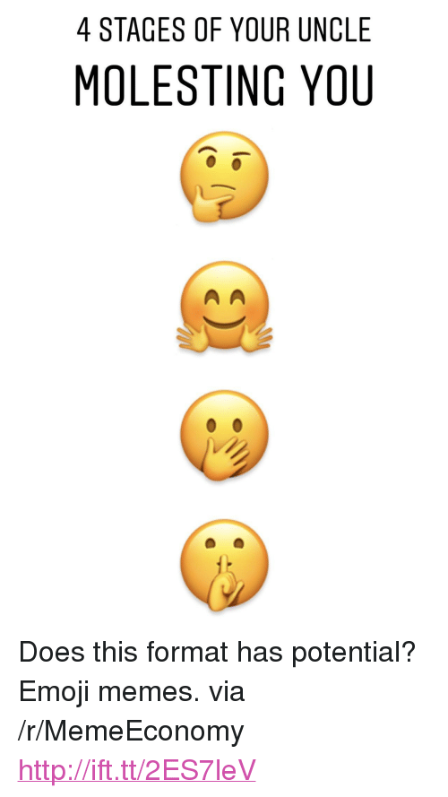 "Emoji Memes: 4 STAGES OF YOUR UNCLE  MOLESTING YOU <p>Does this format has potential? Emoji memes. via /r/MemeEconomy <a href=""http://ift.tt/2ES7leV"">http://ift.tt/2ES7leV</a></p>"
