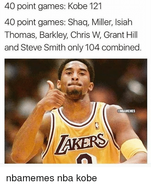 shaqs: 40 point games: Kobe 121  40 point games: Shaq, Miller, Isiah  Thomas, Barkley, Chris W, Grant Hill  and Steve Smith only 104 combined  ONBAMEMES  AKERS nbamemes nba kobe