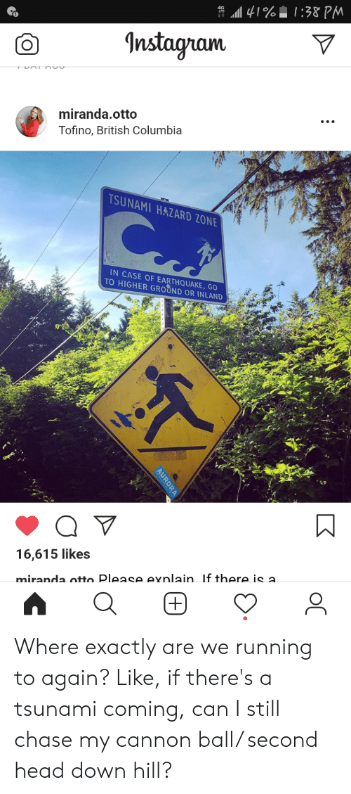 Head, Instagram, and Chase: 41%:38 PM  Instagram  miranda.otto  Tofino, British Columbia  TSUNAMI HAZARD ZONE  IN CASE OF EARTHQUAKE, GO  TO HIGHER GROUND OR INLAND  16,615 likes  miranda otto Please exnlain. If there is a  AURORA  + Where exactly are we running to again? Like, if there's a tsunami coming, can I still chase my cannon ball/ second head down hill?