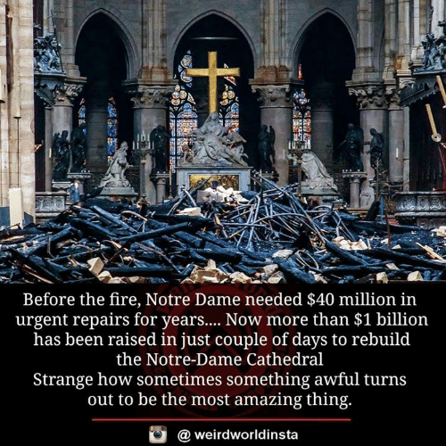 Days To: 41  Before the fire, Notre Dame needed $40 million in  urgent repairs for years... Now more than $1 billion  has been raised in just couple of days to rebuild  the Notre-Dame Cathedral  Strange how sometimes something awful turns  out to be the most amazing thing.  @ weirdworldinsta