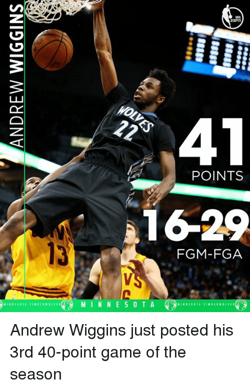 Andrew Wiggins: 41  POINTS  1629  FGM-FGA  M I N N E S O T A Andrew Wiggins just posted his 3rd 40-point game of the season