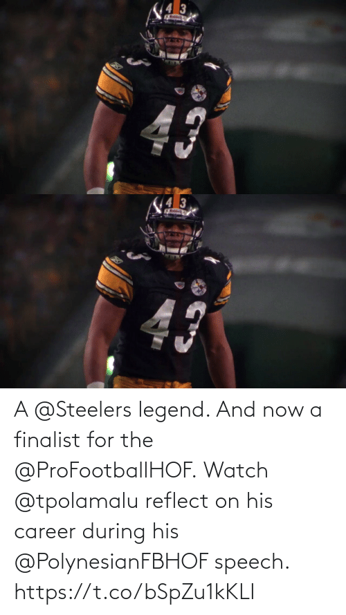 Speech: 43   43  Ratdeo A @Steelers legend. And now a finalist for the @ProFootballHOF.  Watch @tpolamalu reflect on his career during his @PolynesianFBHOF speech. https://t.co/bSpZu1kKLI