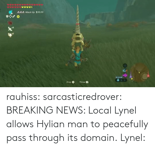 News, Tumblr, and Blog: 444 Attack Up 100:20  Drop O  Throw rauhiss:  sarcasticredrover:  BREAKING NEWS: Local Lynel allows Hylian man to peacefully pass through its domain.  Lynel: