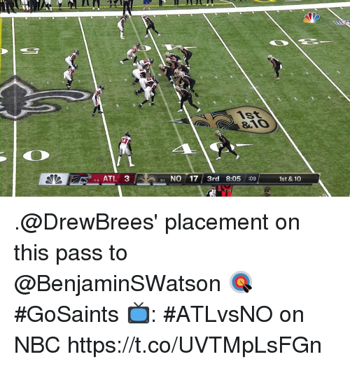 placement: 46 ATL 3  1 NO 17 3rd 8:05 :09  9-1  1st & 10 .@DrewBrees' placement on this pass to @BenjaminSWatson 🎯  #GoSaints  📺: #ATLvsNO on NBC https://t.co/UVTMpLsFGn