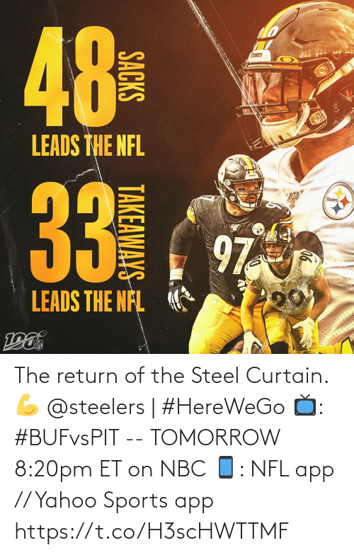 Return: 48  NO  alers  LEADS THE NFL  Steeers  33  Steelers  97  LEADS THE NFL  NFL  ((4)  SACKS  TAKEAWAYS The return of the Steel Curtain. 💪  @steelers | #HereWeGo  📺: #BUFvsPIT -- TOMORROW 8:20pm ET on NBC 📱: NFL app // Yahoo Sports app https://t.co/H3scHWTTMF