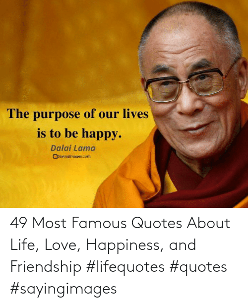 Happiness: 49 Most Famous Quotes About Life, Love, Happiness, and Friendship #lifequotes #quotes #sayingimages