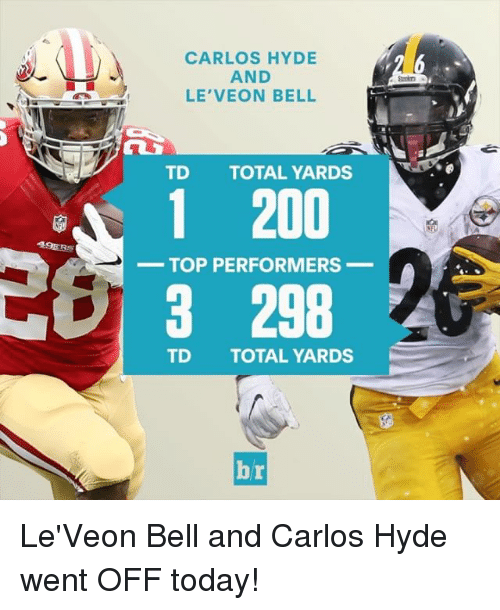 le-veon-bell: 49ERS  CARLOS HYDE  AND  LE VEON BELL  TD TOTAL YARDS  1 200  TOP PERFORMERS  3 298  TD TOTAL YARDS  Ai Le'Veon Bell and Carlos Hyde went OFF today!