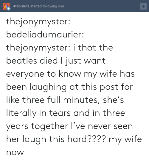 The Beatles: 4fat-sluts started following you thejonymyster:  bedeliadumaurier:  thejonymyster: i thot the beatles died  I just want everyone to know my wife has been laughing at this post for like three full minutes, she's literally in tears and in three years together I've never seen her laugh this hard????   my wife now
