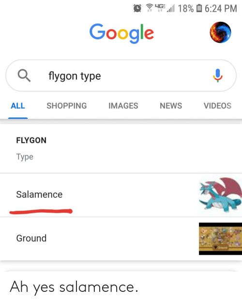 Salamence: 4G  18% O 6:24 PM  Google  flygon type  NEWS  ALL  SHOPPING  IMAGES  VIDEOS  FLYGON  Type  Salamence  Ground Ah yes salamence.