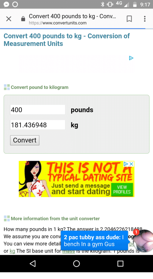 Dating And Dude 4g9 17 Convert 400 Pounds To Kg