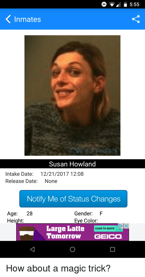 555 inmates susan howland intake date 12212017 1208 release date none notify me of status. Black Bedroom Furniture Sets. Home Design Ideas