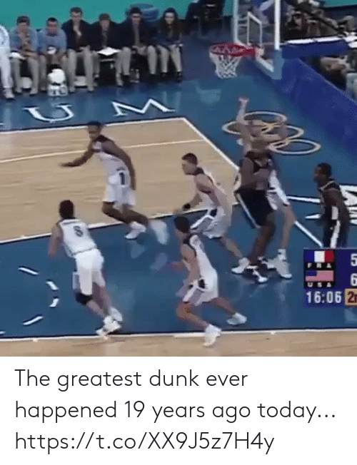 Dunk, Memes, and Today: 5  9  16:06 2 The greatest dunk ever happened 19 years ago today... https://t.co/XX9J5z7H4y