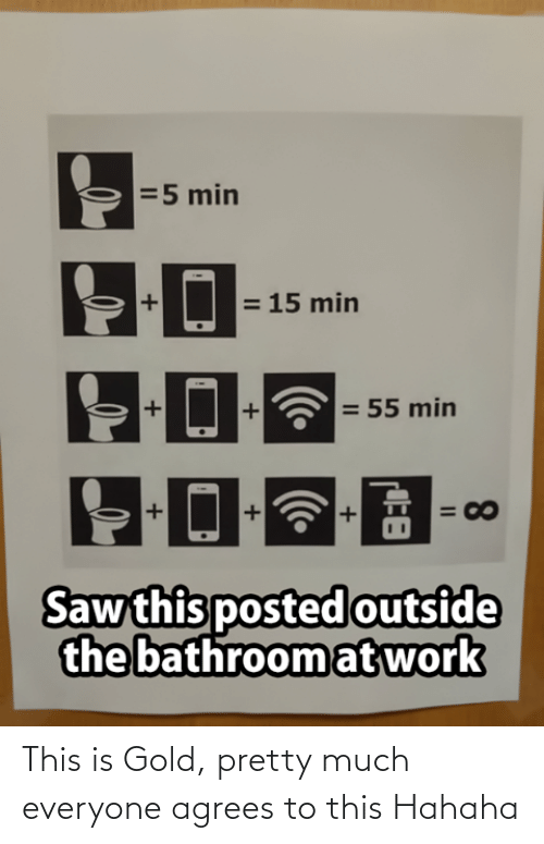 bathroom: =5 min  = 15 min  = 55 min  = 00  Saw this posted outside  the bathroom at work  8.  II This is Gold, pretty much everyone agrees to this Hahaha