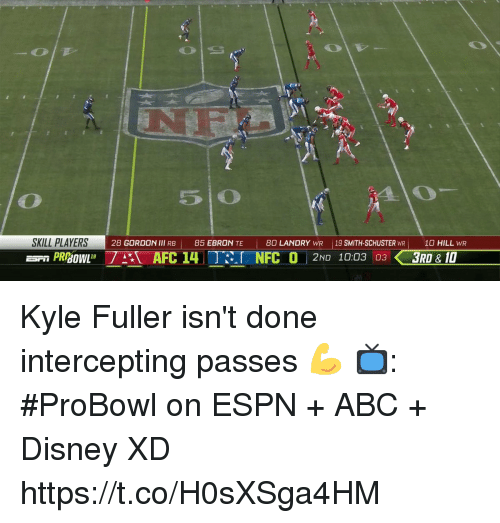 Abc, Disney, and Espn: 5 O  SKILL PLAYERS  28 GORDON lll RB |  85 EBRON TE  I  80 LANDRY WR 19 SMITH-SCHUSTER WR10 HILL WR  PRAFC 4  NFC 0 2ND 1003 033RD&1 Kyle Fuller isn't done intercepting passes 💪  📺: #ProBowl on ESPN + ABC + Disney XD https://t.co/H0sXSga4HM