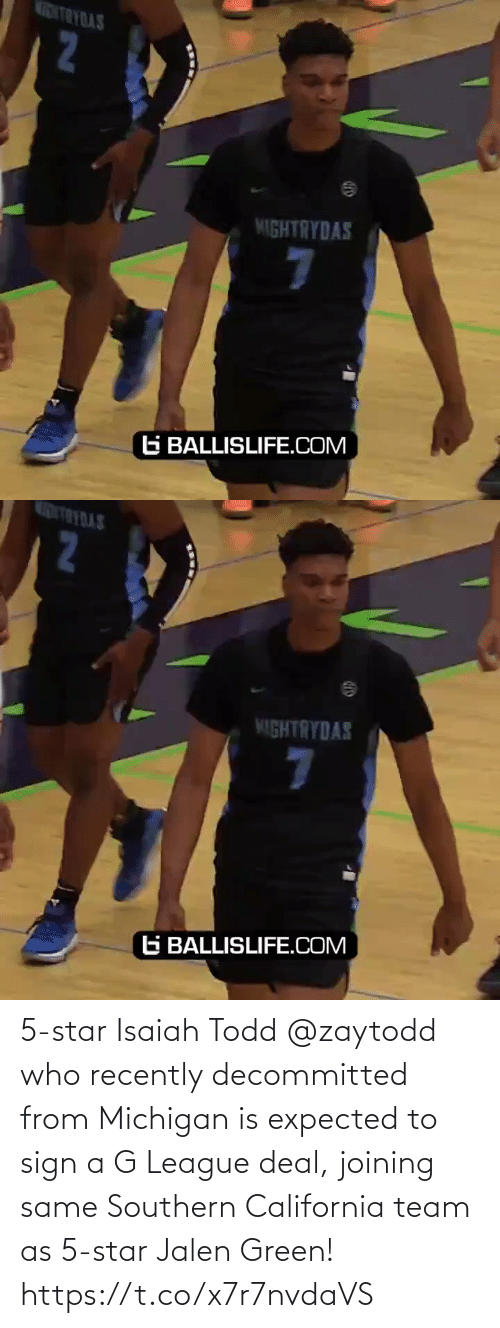 Southern: 5-star Isaiah Todd @zaytodd who recently decommitted from Michigan is expected to sign a G League deal, joining same Southern California team as 5-star Jalen Green! https://t.co/x7r7nvdaVS
