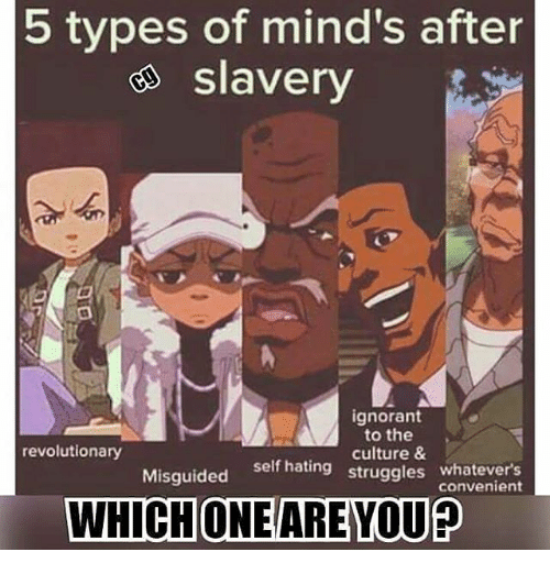 Whatevers: 5 types of mind's after  e slavery  ignorant  to the  culture &  self hating struggles whatevers  revolutionary  Misguided self hating  convenient  WHICHONE/ARE YOU?