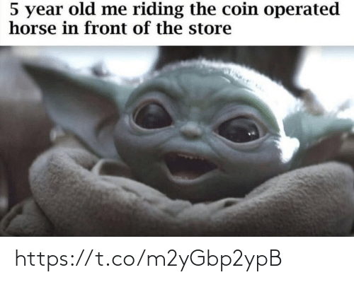 Year Old: 5 year old me riding the coin operated  horse in front of the store https://t.co/m2yGbp2ypB