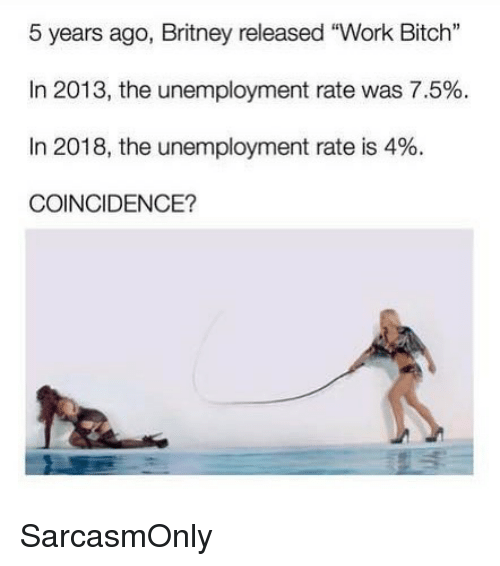 """Bitch, Funny, and Memes: 5 years ago, Britney released """"Work Bitch""""  In 2013, the unemployment rate was 7.5%.  In 2018, the unemployment rate is 4%.  COINCIDENCE? SarcasmOnly"""