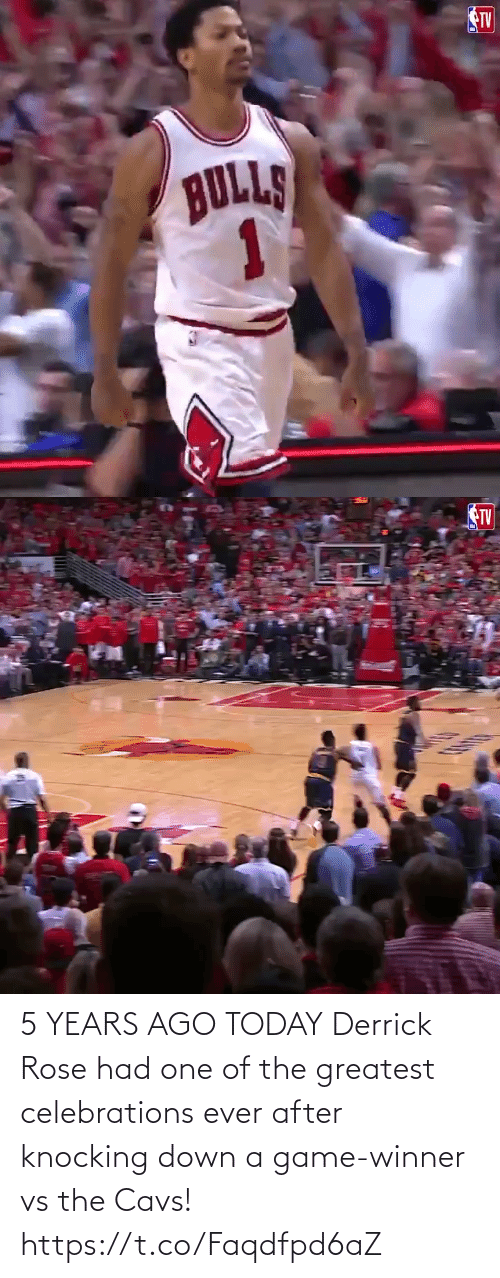 Rose: 5 YEARS AGO TODAY Derrick Rose had one of the greatest celebrations ever after knocking down a game-winner vs the Cavs!  https://t.co/Faqdfpd6aZ
