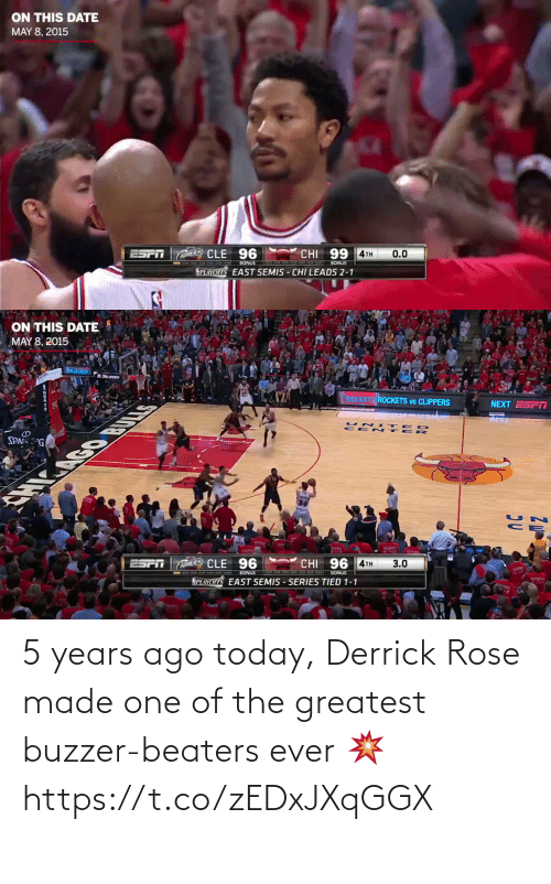 Rose: 5 years ago today, Derrick Rose made one of the greatest buzzer-beaters ever 💥 https://t.co/zEDxJXqGGX
