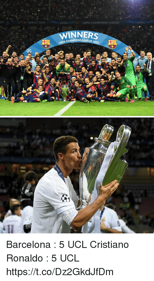 Barcelona, Cristiano Ronaldo, and Memes: 51 RED! 2015  UEFA CHAMPIONS LEAGUE  WINNERS  AMPIONS LEAGUE 2015  FCB  NS  AR Barcelona : 5 UCL  Cristiano Ronaldo : 5 UCL https://t.co/Dz2GkdJfDm