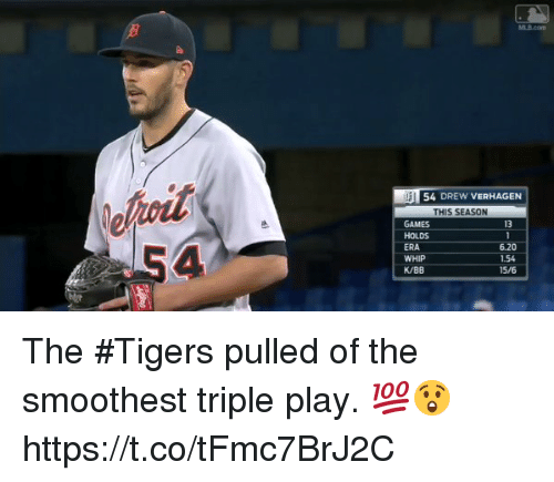 esmemes.com: 54 DREW VERHAGEN  THIS SEASON  GAMES  HOLDS  ERA  WHIP  K/BB  13  6.20  1.54  15/6 The #Tigers pulled of the smoothest triple play. 💯😲 https://t.co/tFmc7BrJ2C
