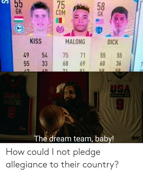 the dream: 55  75  CDM  58  GK  GK  KISS  MALONG  DICK  49  54  75  71  55  60  68  69  36  55  33  7  69  58  71  91  USA  LUSA  BASKETBALL  BASKETBALL  The dream team, baby! How could I not pledge allegiance to their country?